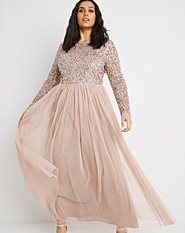 Maya Curve Embellished Long Sleeve Maxi Dress