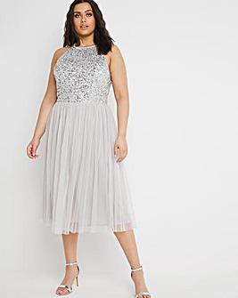Maya Curve Embellished Sleeveless Midi Dress