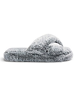 Fluffy Crossover Slider Slipper