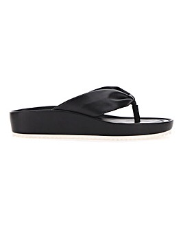 Leather Toe Post Mule Sandals Wide E Fit