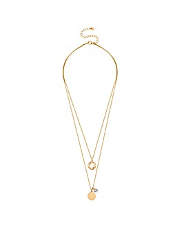 Lipsy Gold Coin Charm Multi Row Necklace