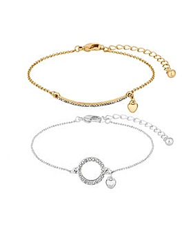 Lipsy Multi Tone Pave Bar Bracelet Set