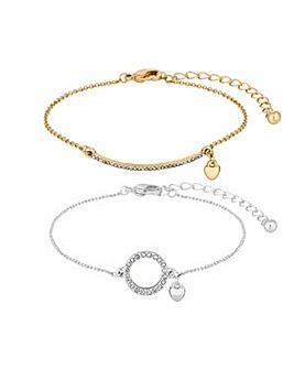 Lipsy Multi Tone Pave Bar Bracelet Set