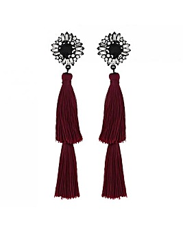 Lipsy Red Double Tassel Drop Earrings