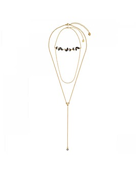 Lipsy Gold CrystalMulti Row Necklace