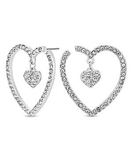 Lipsy Silver Crystal Heart Hoop Earring