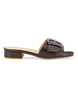 Flexi Sole Mock Croc Buckle Mule Sandals Wide E Fit