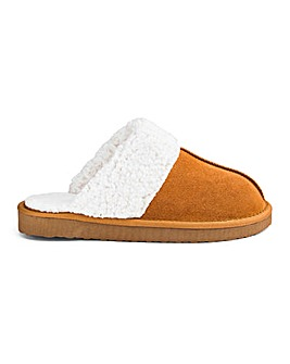 Suede Mule Slipper Wide Fit
