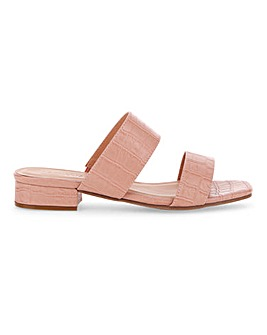 Flexi Sole Double Strap Mule Sandals Wide E Fit