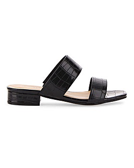 Flexi Sole Double Strap Mule Sandals Extra Wide EEE Fit