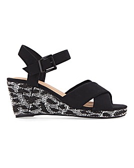 Crossover Wedge Sandals Wide E Fit