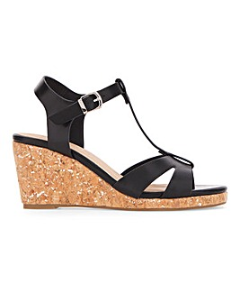 T Bar Wedge Sandals Extra Wide EEE Fit