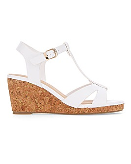 T Bar Wedge Sandals Wide E Fit