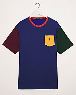 Polo Ralph Lauren Blue Multi Short Sleeve Colourblock Tee