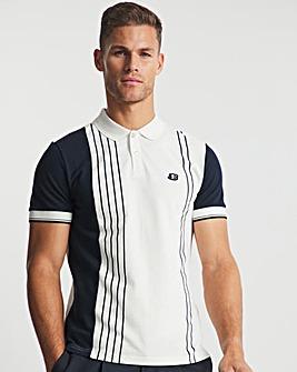 Ben Sherman White Short Sleeve Vertical Colour Block Polo