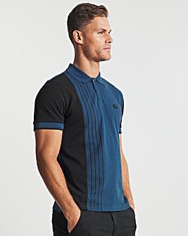 Ben Sherman Dark Blue Short Sleeve Vertical Colour Block Polo