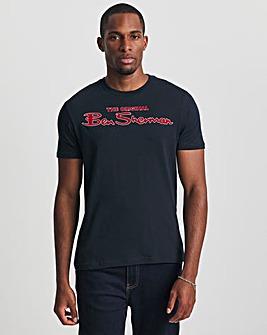 Ben Sherman Dark Navy Short Sleeve Signature Flock Logo T-Shirt