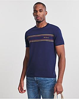 Ben Sherman Marine Blue Short Sleeve Chest Stripe Logo T-Shirt