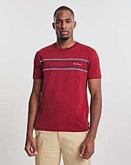 Ben Sherman Red Short Sleeve Chest Stripe Logo T-Shirt