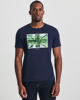 Ben Sherman Marine Blue Short Sleeve Painted Union Jack T-Shirt
