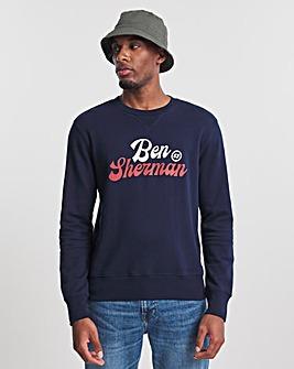 Ben Sherman Marine Blue Sport Logo Crew Neck Sweatshirt
