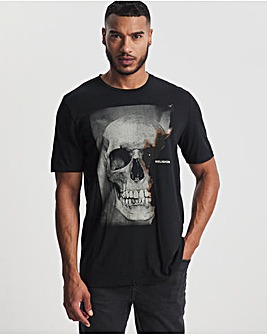 Religion Black Burned Skull Short Sleeve T-Shirt