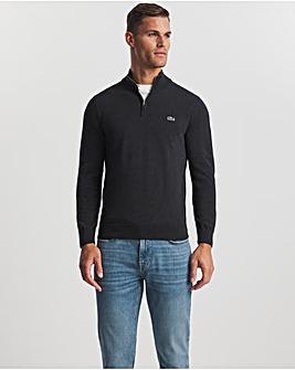 Lacoste Dark Grey Quarter Zip Knitted Jumper