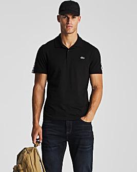 Lacoste Black Short Sleeve Taped Logo Polo
