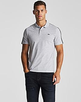 Lacoste Grey Marl Short Sleeve Taped Logo Polo
