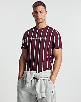 Kings Will Dream White/Burgundy/Navy Moffat Stripe Short Sleeve T-Shirt