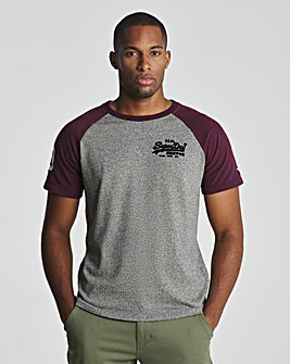 Superdry Grey Grit Vintage Label Raglan T-Shirt