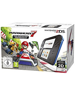 2DS Black and Blue Inc Mario Kart 7