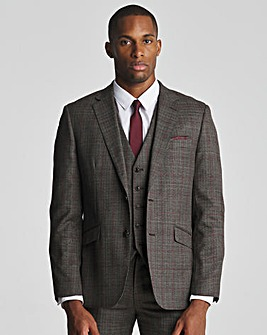 Skopes Havlin Tailored Fit Grey Red Check Suit Jacket
