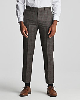 Skopes Havlin Tailored Fit Grey Red Check Suit Trousers