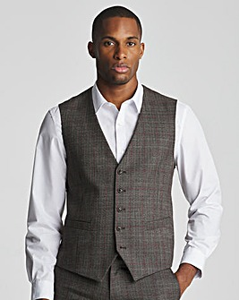 Skopes Havlin Tailored Fit Grey Red Check Suit Waistcoat