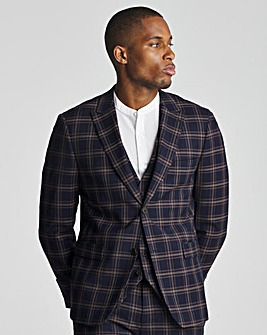 Skopes Seeger Tailored Fit Navy Pink Check Suit Jacket