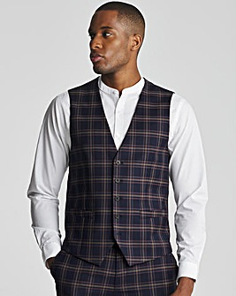 Skopes Seeger Slim Fit Navy Pink Check Suit Waistcoat