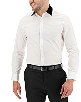 White Velvet Collar Long Sleeve Shirt