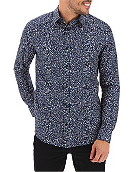 Navy Ditsy Print Long Sleeve Shirt