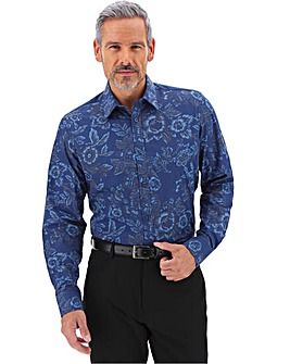Blue Print Long Sleeve Formal Shirt Long