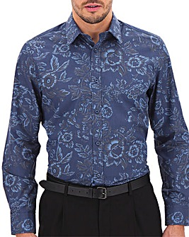 Blue Floral Print Long Sleeve Formal Shirt Long
