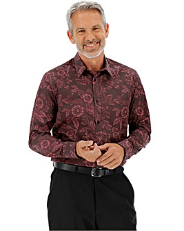 Wine Print Long Sleeve Formal Shirt