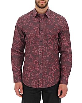 Wine Print Long Sleeve Formal Shirt Long