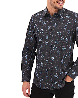 Black Ditsy Print Long Sleeve Formal Shirt Long