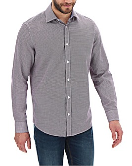 Navy Dogtooth Print Long Sleeve Shirt