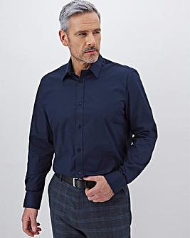 Navy Long Sleeve Stretch Forward Collar Shirt