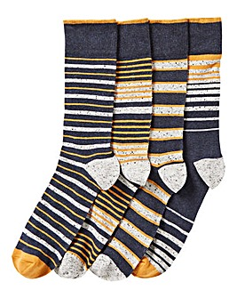 Pack of 4 Navy Nep Stripe Socks