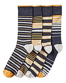 Pack of 4 Navy Nep Stripe Socks