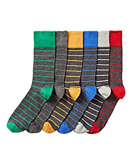 Pack of 6 Black Nep Stripe Socks