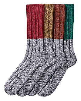 Pack of 4 Colour Block Boot Socks